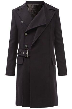 Balmain Men Blazers - Double-lapel Wool-blend Overcoat - Mens - Navy