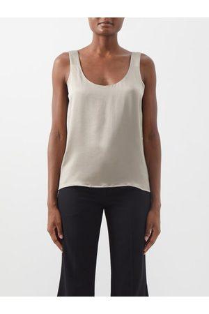 Raey Women Tank Tops - Scoop-neck Silk-crepe Satin Tank Top - Womens