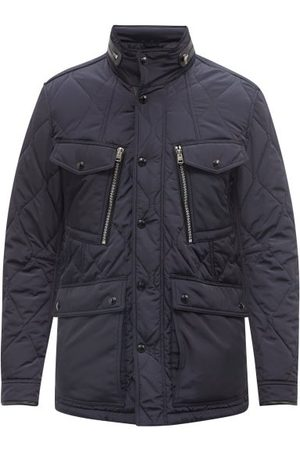 Tom Ford Men Leather Jackets - Leather-trim Quilted-twill Jacket - Mens - Navy