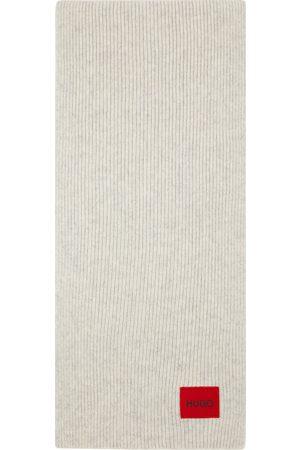 HUGO BOSS Grey Wool Ribbed Scarf