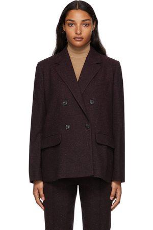 A.P.C. Women Blazers - Burgundy Double-Breasted Tweed Blazer