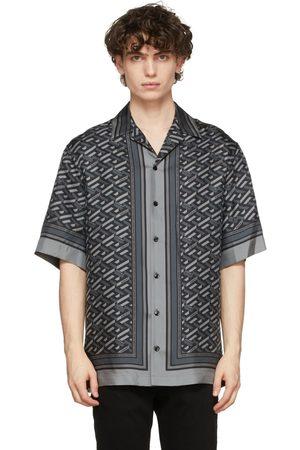 VERSACE Grey Silk Jacquard Monogram Shirt