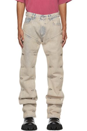 Y / PROJECT Blue Faded Paneled Jeans