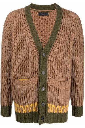 Alanui Men Cardigans - Intarsia-knit V-neck cardigan