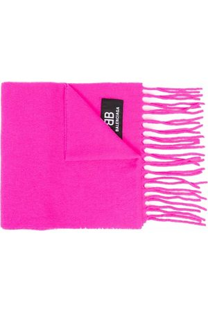 Balenciaga Men Scarves - Logo patch fringed scarf