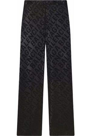 Balenciaga Jacquard logo wide-leg trousers