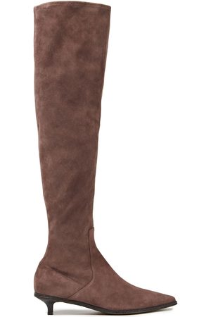 Brunello Cucinelli Women Thigh High Boots - Woman Bead-embellished Suede Knee Boots Taupe Size 37