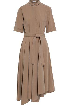 Brunello Cucinelli Women Asymmetrical Dresses - Woman Asymmetric Bead-embellished Wool Midi Dress Taupe Size M