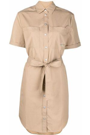 Calvin Klein Logo-print shirt dress - Neutrals