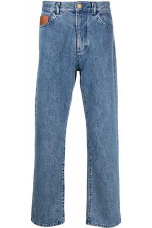Canali Men Straight - Logo-patch straight-leg jeans