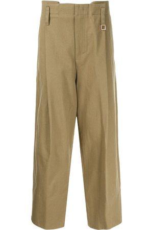 WOOYOUNGMI Men Wide Leg Pants - Wide-leg cotton trousers