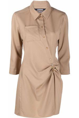 Jacquemus Women Asymmetrical Dresses - Asymmetric-slit shirt dress - Neutrals
