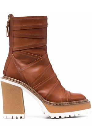 Premiata Women Ankle Boots - Overlap-panel leather ankle boots