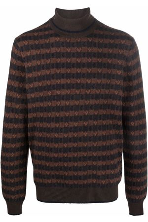 Malo Checked knitted roll-neck jumper
