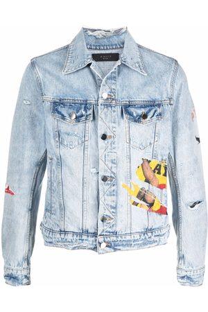 AMIRI Graphic-print distressed denim jacket
