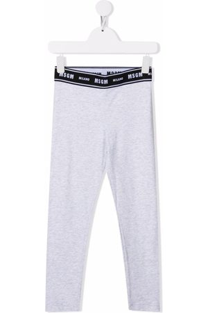 Msgm Logo-waist cotton leggings - Grey