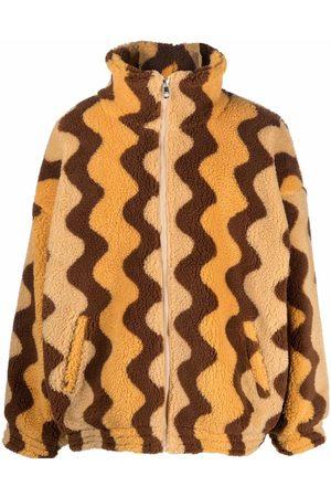 Drôle de Monsieur Colour-block zip-up fleece jacket