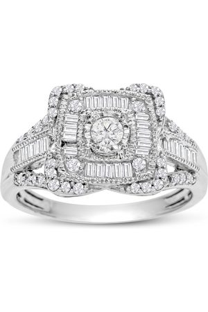 SuperJeweler Previously Owned 3/4 Carat Baguette & Round Diamond Engagement Ring in (3.9 g)