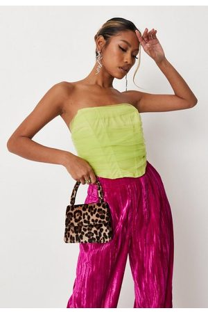 Missguided Women Strapless Tops - Lime Mesh Overlay Bandeau Corset Top