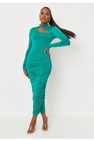 Missguided Women Dresses - Slinky High Neck Cut Out Midaxi Dress