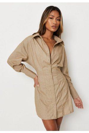 Missguided Women Casual Dresses - Sand Pleat Waist Shirt Mini Dress
