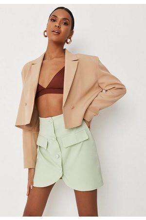 Missguided Women Mini Skirts - Recycled Tall Tailored Asymmetric Button Skirt