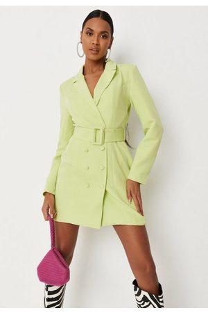 Missguided Women Blazers - Lime Belted Blazer Dress