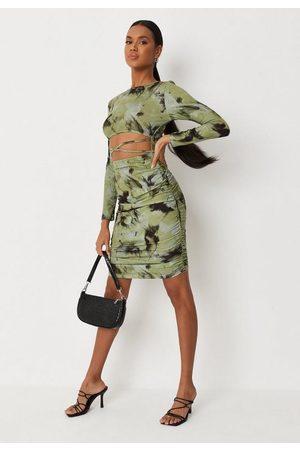 Missguided Women Party Dresses - Lime Tie Dye Cut Out Cross Front Mini Dress