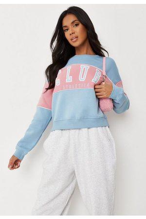 Missguided Women Sweatshirts - Baby Colorblock Club Athletica Graphic Sweatshirt