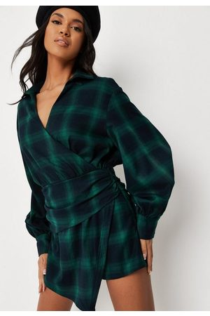 Missguided Women T-shirts - Check Wrap Over Collared Romper
