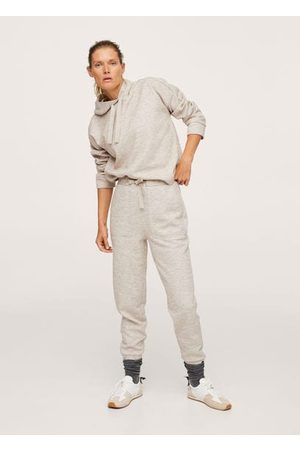 MANGO Women Hoodies - Flecked hoodie /pastel grey