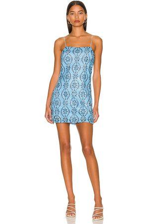 Free People Retro Babe Sparkle Mini Dress in Blue.