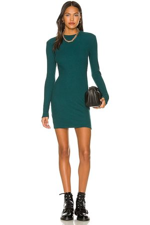 MONROW Brushed Thermal Long Sleeve Mock Neck Mini Dress in Teal.