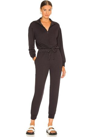 MONROW Supersoft Fleece Shirred Sleeve Jumpsuit in Charcoal.