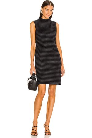 THEORY High Neck Gingham Dress in Grey.