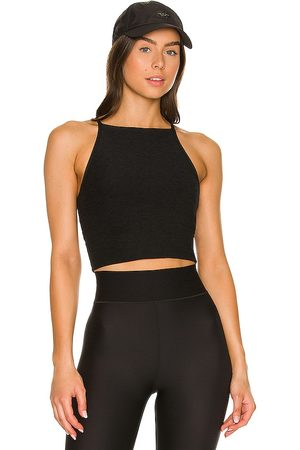 Beyond Yoga Wide Neck Cropped Tank in Charcoal.