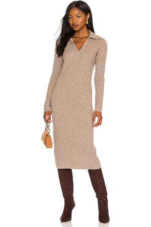 Vince Ribbed Polo Dress in Taupe.