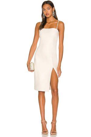 Susana Monaco Faux Leather Thin Strap Square Neck Dress in Ivory.
