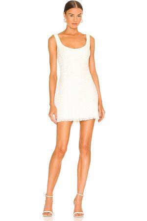 Sau Lee Alexa Tweed Mini Dress in Ivory.