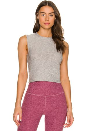 Beyond Yoga Ruched Down Cropped Tank in Grey.
