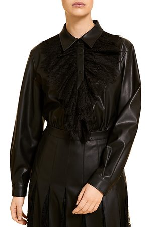 Persona by Marina Rinaldi Bolzano Lace Trimmed Faux Leather Shirt