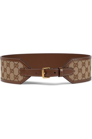 Gucci GG leather-trimmed canvas belt