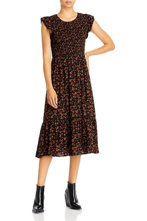 Lost + Wander Claire Smocked Floral Midi Dress