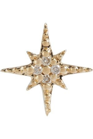 Sydney Evan Starbust 14kt yellow stud earring with diamonds