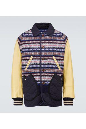 JUNYA WATANABE Wool jacquard and leather jacket
