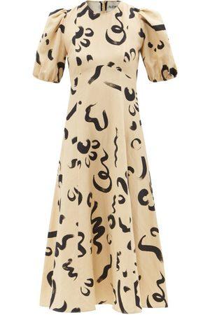 ALÉMAIS Women Printed Dresses - Puff-sleeve Abstract-print Silk-blend Midi Dress - Womens - Print