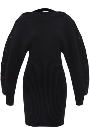 Bottega Veneta Buttoned-sleeve Ribbed-knit Wool Mini Dress - Womens