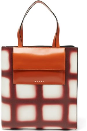 Marni Museo Check Large Leather Tote Bag - Womens - Burgundy