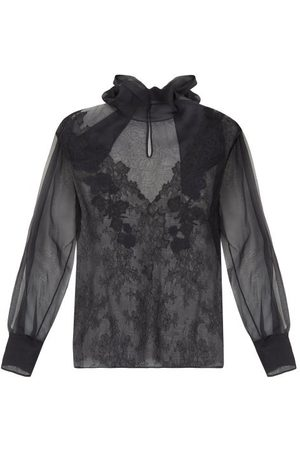 VALENTINO Pussybow Floral-embroidered Silk-organza Blouse - Womens