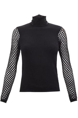 VALENTINO High-neck Mesh-sleeve Jersey Top - Womens